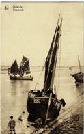 Ostende Barque De Pêche à Marée Basse Circulée En 1934 - Oostende