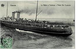 "Ostende La Malle à Turbines "" Pieter De Coninck "" Circulée En 1913 - Oostende"