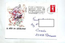 Lettre  Flamme  Saint Chely Croix Donjon Illustré Bete De Gevaudan - Annullamenti Meccanici (pubblicitari)