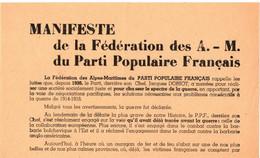 39/45 . MANIFESTE FEDE DES A.M  PARTI POPULAIRE FRANCAIS . DORIOT. ENTRER DANS LES GARDES FRANCAISES - Documentos Históricos