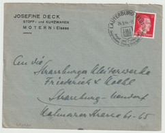 SK1555 - LAUTERBURG (ELS) - 1944 - Timbre Hitler - Cachet Touristique - Entête Josefine DECK MOTERN - - Alsace Lorraine