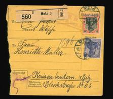 Paketkarte Um 1915  MiF Germania Aus Metz France Nach Kaiserslautern - Brieven En Documenten