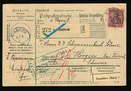 Paketkarte Paketschein 1907 EF Mi Nr. 93  Aus Einbeck Nach Horgen / Zürich, Schweiz, Leitvermerk Frankfurt Main SST Zoll - Brieven En Documenten