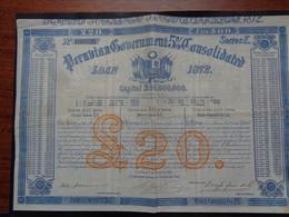 PEROU - PERUVIAN GOUVERNEMENT 5% 1872 - OBLIGATION DE 500 FRS - LONDRES 1872 - PEU COURANT - Unclassified