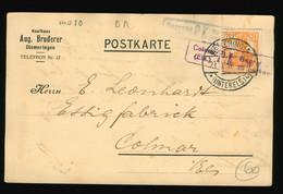 Beleg Karte 1917 Zensur Censor Kaufhaus Aug. Bruderer Diemeringen Nach Essig Fabrik Colmar, Zensur Hagenau, Colmar - Brieven