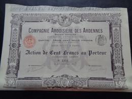 FRANCE - 08 - CIE ARDOISIERE DES ARDENNES - ACTION DE 100 FRS - PARIS 1903 - PEU COURANT - IMPRIMERIE RICHARD - Unclassified