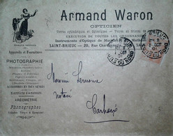 G 7 Lettre/document/facture     1901....  Entete Opticien à St Brieuc - Lettres & Documents