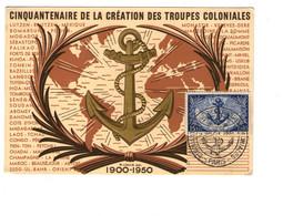 Militaire Carte Gaufrée + Timbre Cinquantenaire Création Des Troupes Coloniales 1900 1950 Cachet Secretariat Etat Forces - Reggimenti