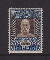 AUSTRIA  -  1910 Emperors 80th Birthday 10k Hinged Mint - Ongebruikt