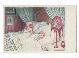 CARD BERTIGLIA LAMPADA LIBERTY GRANDI CUSCINI BIMBI A LETTO LEI GUARDA MALAMENTE LUI CHE DORME-FP-VIN BUSTA-2-0882-30128 - Bertiglia, A.