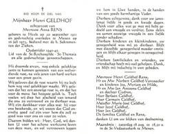 Henri Geldhof (1911-1973) ~ Oudstrijder (1940-1945) - Devotion Images