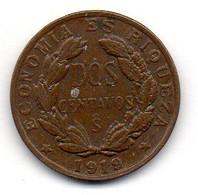 CHILE, 2 Centavos, Copper, Year 1919, KM #164 - Chili