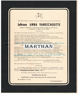 DOODSBRIEF VANEECHOUTTE ANNA WESTOUTER RIJSEL 1901 - 1955 - Obituary Notices