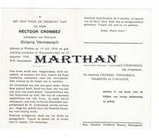 DOODSPRENTJE CROMBEZ HECTOOR ECHTGENOOT VERMEERSCH WERKEN NIEUWPOORT-BAD 1896 - 1966 - Santini