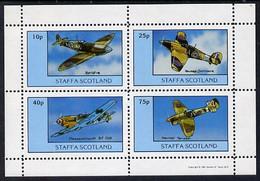 Staffa 1981 WW2 Aircraft #2 (Spitfire, Hurricane, Messerschmitt & Tempest) Perf Set Of 4 Values U/M - Local Issues