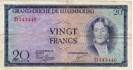 """Luxembourg 20 Francs ND 1955 F P-49a """"free Shipping Via Registered Air Mail"""" - Luxembourg"""