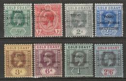 Togo 1915 Sc 66-71,73 59-65,67 Partial Set Local Overprint MH* - Ungebraucht