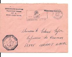 """Lettre En Franchise Gendarmerie Maritime Brigade De Keroman """" Base De Sous Marins De Lorient - Other"""