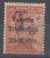 Italy Trento, Trentino, Venezia Tridentina 1918 Sassone#30 T Overprint, Used - Trente