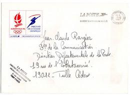 """OMEC Flamme SECAP PARIS 07 """"LA POSTE DIRECTION GENERALE"""" De 1991 Sur Lettre Jeux Olympiques Albertville 1992 - Mechanical Postmarks (Advertisement)"""