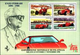 45681) Esposizione Mondiale Di Filatelia, A Milano - Giornata Della Ferrari - BLOCCO FOGLIETTO - 26 Ottobre 1998-MNH** - Blocks & Sheetlets