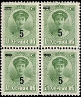 Luxembourg, Luxemburg 1925 Grande-Duchesse Charlotte Bloc 4x 5/10c. Surcharge Neuf MNH** - 1921-27 Charlotte Voorzijde