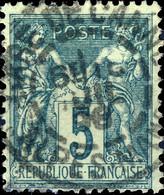 """France - 1898 - CàD  Type A """" GARE DE CANNES / ALPES-MAmes """" Sur Yv.75 5c Sage - TB - 1849-1876: Periodo Clásico"""