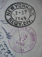 BUSTA REGISTERED DA NEW YORK USA A CONSOLATO REPUBBLICA SAN MARINO 1945 VARI TIMBRI - Postal History