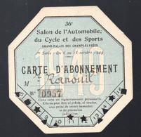 (automobile) Paris Grand Palais : Carte D'abonnement 1949 Entrée  SALON DE L'AUTO  (PPP31055) - Biglietti D'ingresso