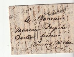 """Lettre Déboursé """"Déb.84 Chambéry""""/ Cachets """"Martinique"""" + """"Colonies Par Bordeaux"""", écrite à Pointe à Pitre->Annecy, 1816 - 1801-1848: Precursors XIX"""