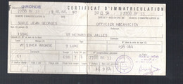 (automobile) Carte Grise 1964 SIMCA ARONDE Avec 2 Timbres Fiscaux 11f55 Au Verso (PPP31061) - Revenue Stamps