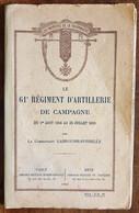 Historique Du 61° Régiment D'artillerie De Campagne - Frankrijk