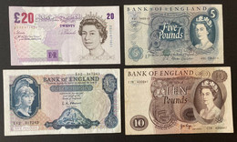 4 X Bank Of England Banknotes, Signed By 4 Chief Cashiers, 40 Pounds Sterling, O'BRIEN; FFORDE; PAGE; BAILEY - 20 Pounds