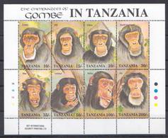 PK212 TANZANIA FAUNA ANIMALS MONKEYS THE CHIMPANZEES OF GOMBE 1KB MNH - Chimpanzees