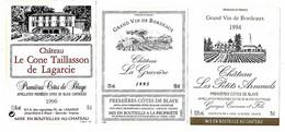 Lot De 16 étiquettes De   PREMIERES  CÔTES  De  BLAYE     Autocollantes   Neuves  ( 5 Scans) - Bordeaux
