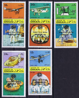 State Of Oman Space 1971 Black Apollo 14 Overprint On Airplanes And Astronauts. Crews Of Apollo 1 And Apollo 11 - Oman