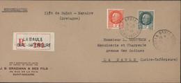 Guerre 39 45 Ilot De St Nazaire Recommandé Utilisation Pétain YT 518 + 521 CAD La Baule 22 12 1944 Démonétisé 1 11 44 - Guerre De 1939-45