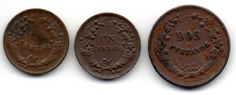 PERU, Set Of Three Coins 1, 1, 2 Centavos, Bronze, Year 1920, 1933, 1935, KM #208.2, 211, 212.1 - Pérou
