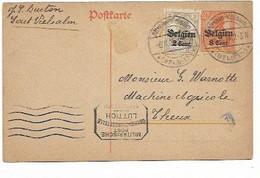 SH 1023. EP Oc 10 + TP Oc 10 Càp ALTSALM-VIELSALM 6.11.18 (tarif D' Octobre 18) + Censure LÜTTICH Vers THEUX. TB - Army: German