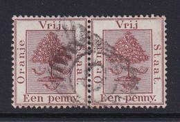 Orange Free State: 1868/94   Orange Tree    SG1   1d   Pale Brown    Used Pair - Estado Libre De Orange (1868-1909)