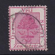 Orange Free State: 1868/94   Orange Tree    SG6   6d   Rose-carmine    Used - Estado Libre De Orange (1868-1909)