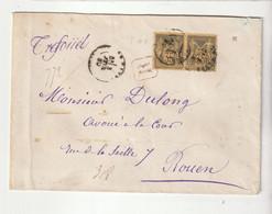 Lettre Recommandée  Avec Paire Type Sage N°93, 1880 - 1876-1898 Sage (Type II)