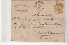 Lettre Type Sage N°92, Oblitération Constantine /Galata Pour St Etienne, 1880 - 1876-1898 Sage (Type II)
