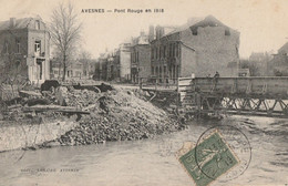 CARTE POSTALE ORIGINALE ANCIENNE : AVESNES SUR HELPE LE PONT ROUGE DETRUIT EN 1918 GUERRE 14/18 ANIMEE  NORD (59) - Avesnes Sur Helpe