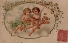 Illustrée Gaufrée Dorée  : Deux Anges Volants - Angels