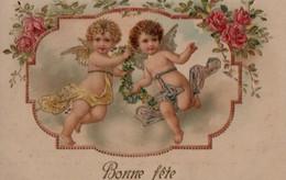 Illustrée Gaufrée Dorée  : Deux Anges à La Guirlande - Angels
