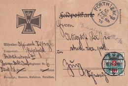 BAYERN 1916 CARTE DE FÜRTH TAXEE A ZUG - Bavaria