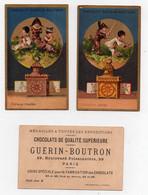 CHROMO Chocolat Guérin-Boutron Enfants Pierrot Arlequin Fille Lanterne Magique Entrevue Correction Méritée (2 Chromos) - Guerin Boutron