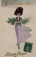 Belle Illustrée  X. SAGER : Jolie Femme Apportant Le Gui Et Le Houx - New Year