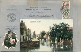 Oude Gelopen Kaart - Mandat De Poste - Postwissel - Postbode En Postzegels Op Kaart - Le Quai Vert Bruges - Postzegels (afbeeldingen)